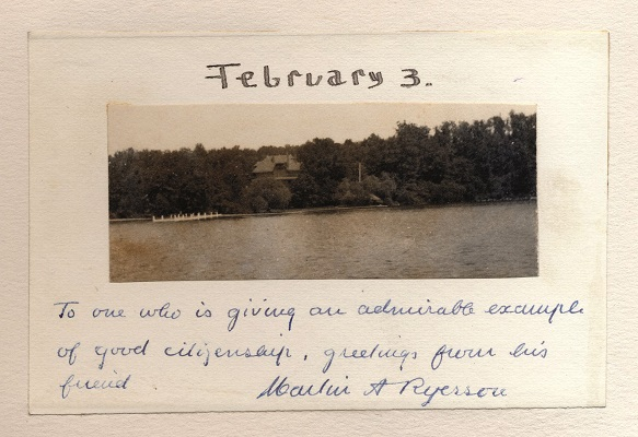 Another postcard submission for Charles Wacker's birthday calendar. This one is from Martin Ryerson, who owned Bonnie Brae, an estate on Geneva Lake's north shore.