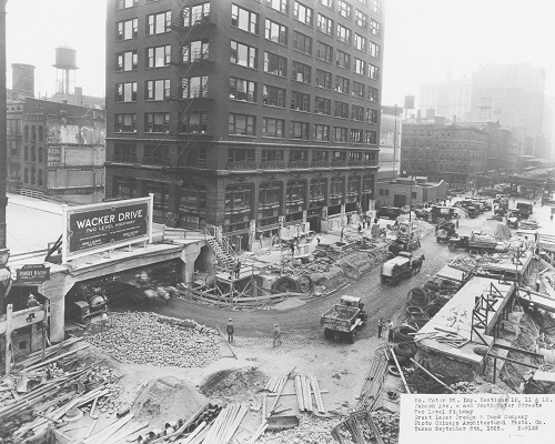 Construction of Wacker Drive at Wabash Avenue and South Water Street, Chicago, Illinois, September 8, 1925.