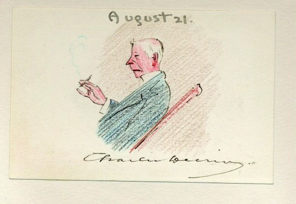 August 21: By all accounts Charles Deering was a talented amateur artist, so this postcard's illustration could have been a self-portrait. This successful Chicago businessman would eventually combine forces with other investors to create the International Harvester Company.