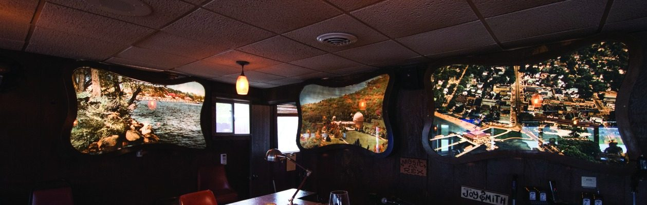 Five of the large-format, back-lit photo prints of popular Lake Geneva scenes produced for the Clair Lounge now hang in the dining room at Mars Resort. The sixth is on display at the Geneva Lake Museum.