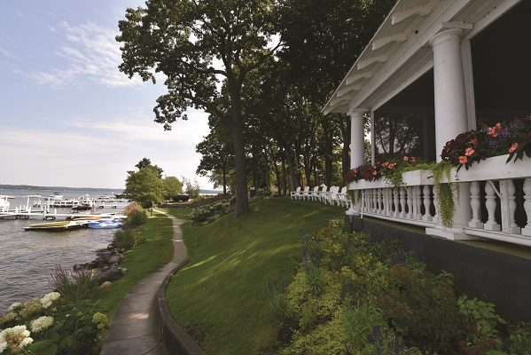 The Shore Path winds its way along the water's edge bordering Harvard Club, a picturesque combination of lake homes and open space established in 1875 on Geneva Lake's south shore.