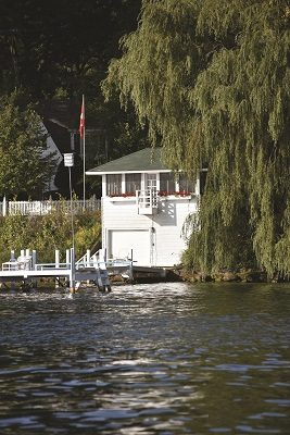 Walking west along the Shore Path, you'll find this classic boathouse between Elgin Club and Knollwood.