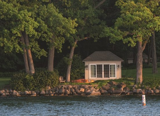 The architecture of Geneva Lake's boathouses is as varied as the homes that line its shore. The three shown here can be found on the north shore between approximately the Narrows and Cedar Point.