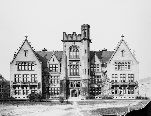 Exterior view of the Ryerson Physical Laboratory at the University of Chicago, Chicago, Illinois, circa 1900. Designed by architect Henry Ives Cobb.