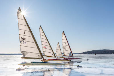 Skeeter Iceboats are lined up on Geneva Lake on Jan. 31, 2018, prior to the Boe-Craft Championship Regatta held Feb. 2-4.