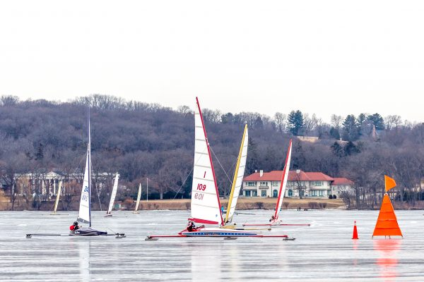 The second race on Saturday, Feb. 3, 2018, during the Boe-Craft Championship Regatta on Geneva Lake. The race and this particular boat class are named after Bill Boehmke, who built Skeeters in Fontana, beginning in