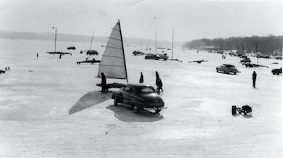"Photos from the 1940s show the popularity of iceboating on Geneva Lake, and Williams Bay as its hub. Eventually, the Village would earn the nickname ""Iceboat Center of the World.""